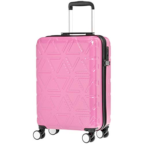 """Hochwertiger Hartschalen-Trolley """"Pyramid"""", mit Schwenkrollen, 55 cm, Pink – AmazonBasics"""