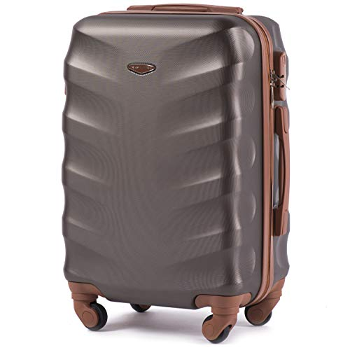 Luxuriöser und moderner Koffer mit zweistufigen Teleskopgriff und Kombinationsschloss Kaffee, S – VINCI LUGGAGE Geräumiger Kabinentrolley – Leichter Flugzeugkoffer