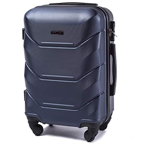 VINCI LUGGAGE Geräumiger Kabinentrolley – Luxuriöser und moderner Koffer mit zweistufigen Teleskopgriff und Kombinationsschloss Blau, S 55x37x23 – Leichter Flugzeugkoffer