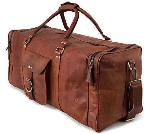 Berliner Bags Reisetasche New York XXL Geräumige Leder Weekender Sporttasche Freizeittasche Damen Herren Vintage Braun 60l Groß