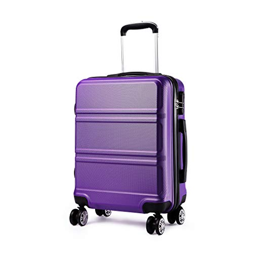 Kono Koffer Trolley Hartschale Handgepäck Zwillingsrollen Leichtgewicht ABS Kabinentrolley Reisekoffer Zahlenschloss 55cm violett