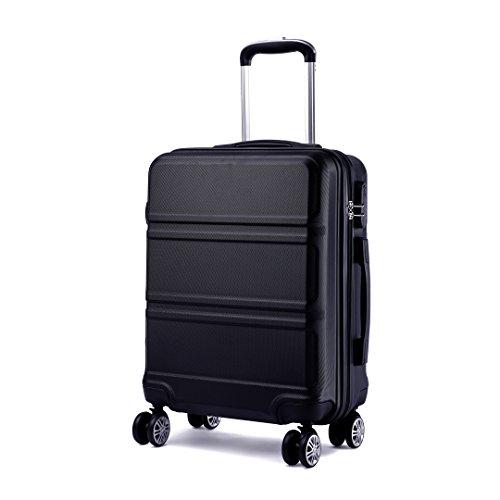 Kono Koffer Trolley Hartschale Handgepäck Zwillingsrollen Leichtgewicht ABS Kabinentrolley Reisekoffer Zahlenschloss 55cmschwarz