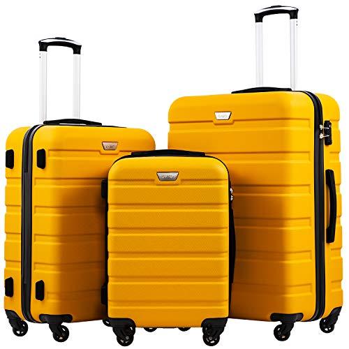 COOLIFE Hartschalen-Koffer Trolley Rollkoffer Reisekoffer mit TSA-Schloss und 4 Rollen Gelb, Koffer-Set