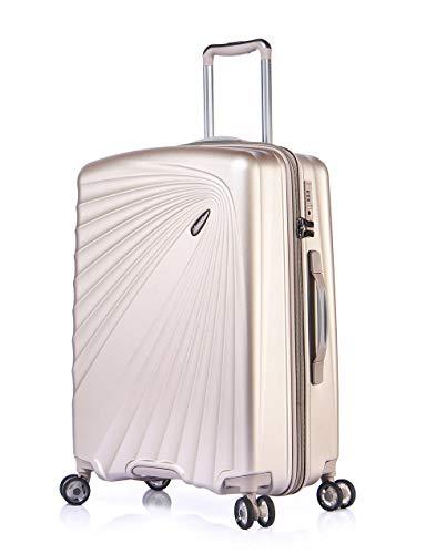 Verage Kinetic Leichter Hartschalen-Koffer L-76cm-127 Liter, Metallic Champagner, TSA integriert, 4 Rollen ABS/PC Trolley mit Sicherheits-Reißverschluss
