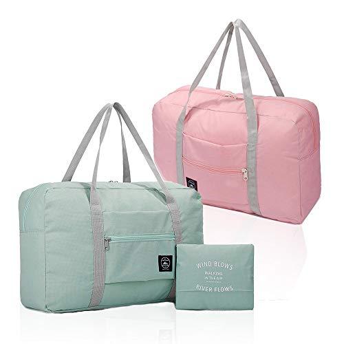2er Pack Faltbare Reisetasche, wasserdichte Handgepäcktasche, leichte Reisetasche für Sport, Fitness, Urlaub Hellblau & Hellrosa