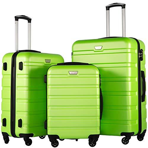 COOLIFE Hartschalen-Koffer Trolley Rollkoffer Reisekoffer mit TSA-Schloss und 4 RollenGrün, Koffer-Set