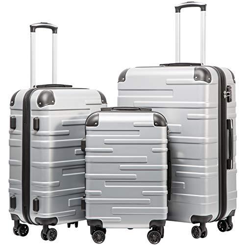 COOLIFE Hartschalen-Koffer Rollkoffer Reisekoffer Vergrößerbares Gepäck Nur Großer Koffer Erweiterbar ABS Material mit TSA-Schloss und 4 RollenSilber, Koffer-Set