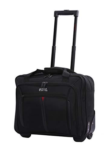 Eono Essentials 17″ Rollkoffer Laptoptrolley Business-Tasche Laptop-Tasche bis 17,3″- Zugelassen für Ryanair, Easyjet, BA & Jet2, Schwarz
