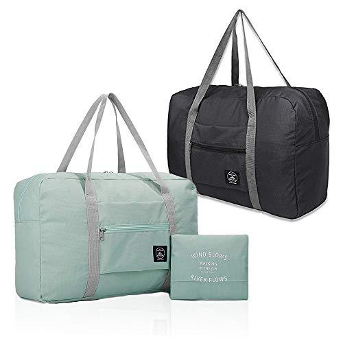2er Pack Faltbare Reisetasche, wasserdichte Handgepäcktasche, leichte Reisetasche für Sport, Fitness, Urlaub Hellblau & Schwarz