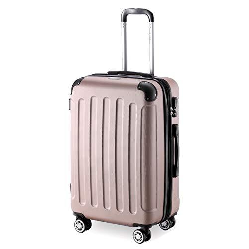Flexot 2045 Koffer – Farbe Rosegold Größe L Hartschalen-Koffer Trolley Rollkoffer Reisekoffer 4 Rollen