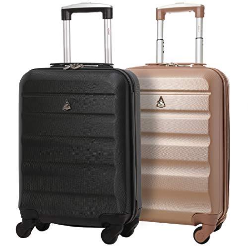 Aerolite 2 Teilig Leichtgewicht ABS Hartschale 4 Rollen Handgepäck Trolley Koffer Bordgepäck Kabinentrolley Reisekoffer Gepäck, Genehmigt für Ryanair Schwarz + Roségold