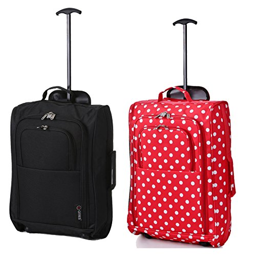 Set mit 2 Superleichtgewicht Cabin Approved Gepäck Travel Wheely Suitcase Radfahrtaschen Taschen BLK + RED Polka DOTS