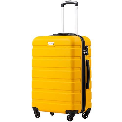 COOLIFE Hartschalen-Koffer Trolley Rollkoffer Reisekoffer mit TSA-Schloss und 4 Rollen Gelb, Großer Koffer