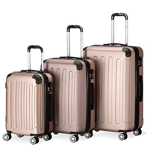 Farbe Rosegold Größe M L XL Hartschalen-Koffer Trolley Rollkoffer Reisekoffer 4 Rollen – Flexot 2045 3er Reisekoffer Set