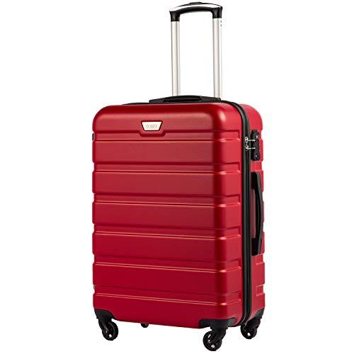 COOLIFE Hartschalen-Koffer Trolley Rollkoffer Reisekoffer mit TSA-Schloss und 4 RollenRot, Handgepäck