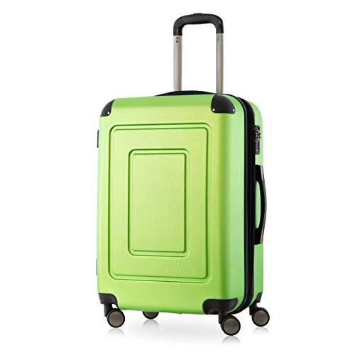 Lugano Hartschalen-Koffer Koffer Trolley Rollkoffer Reisekoffer Lugano, sehr leicht, TSA, 66 cm, 78L Grün – Happy Trolley