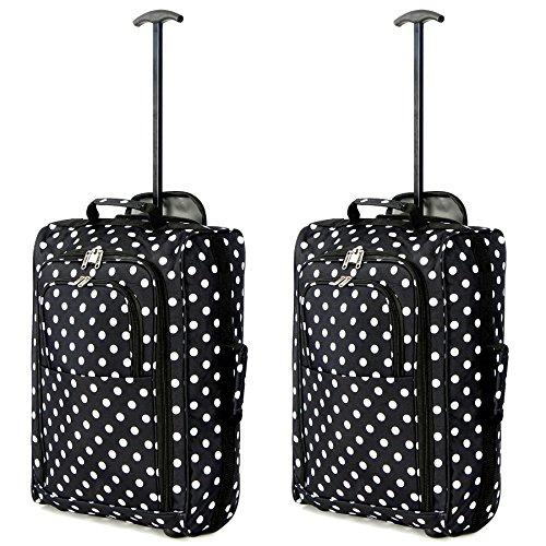Set mit 2 Superleichtgewicht Cabin Approved Gepäck Travel Wheely Suitcase Radfahrtaschen Taschen Black Polka-DOTS