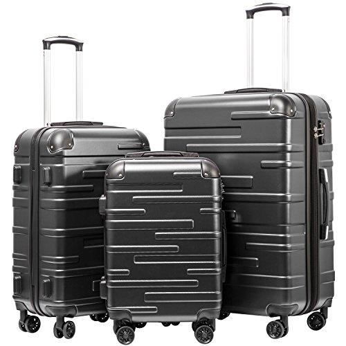 COOLIFE Hartschalen-Koffer Rollkoffer Reisekoffer Vergrößerbares Gepäck Nur Großer Koffer Erweiterbar ABS Material mit TSA-Schloss und 4 RollenGrau, Koffer-Set