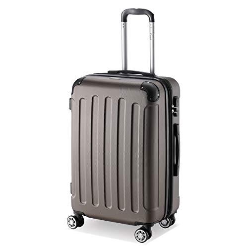 Flexot 2045 Koffer – Farbe Coffee Größe L Hartschalen-Koffer Trolley Rollkoffer Reisekoffer 4 Rollen