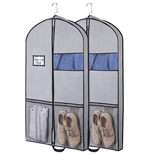 Syeeiex Atmungsaktive Aufbewahrung Reise-Kleidersäcke Kleiderhülle mit 2 großen Netztaschen und Griffen für Anzug, Kleid, Smoking 2er-Set 109 cm x 60 cm x 9 cm