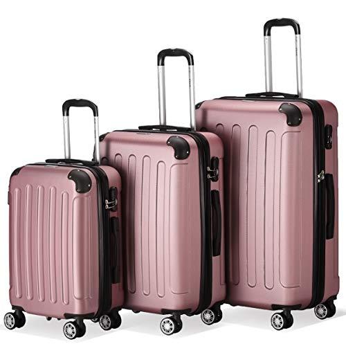 Farbe Rosa Pink Größe M L XL Hartschalen-Koffer Trolley Rollkoffer Reisekoffer 4 Rollen – Flexot 2045 3er Reisekoffer Set