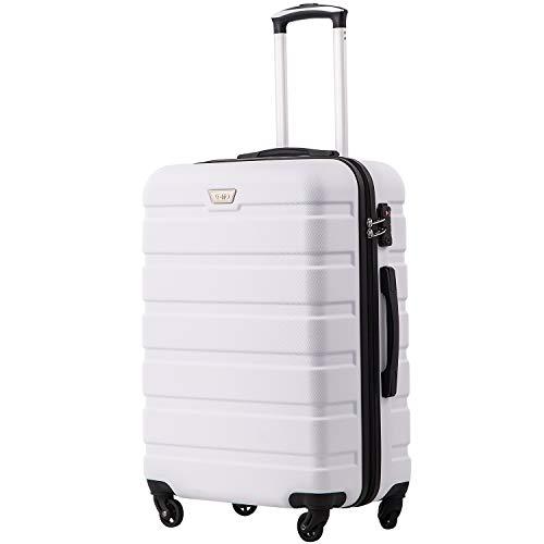 COOLIFE Hartschalen-Koffer Trolley Rollkoffer Reisekoffer mit TSA-Schloss und 4 Rollen Weiß, Mittelgroßer Koffer