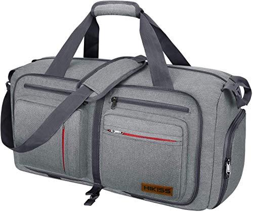 HIKISS Faltbare Reisetasche 75L Duffel Taschen mit Abnehmbarem Schulterriemen und Schuhfach Reisegepäck Übernachtung Taschen/Sporttasche für Reisen Sport Gym Urlaub