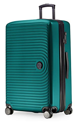 Großer Rollkoffer, Koffer Hartschale mit 8 cm Erweiterung, TSA, 4 gummierte Doppelrollen, 77 cm, 130 L, Türkis – HAUPTSTADTKOFFER – Mitte