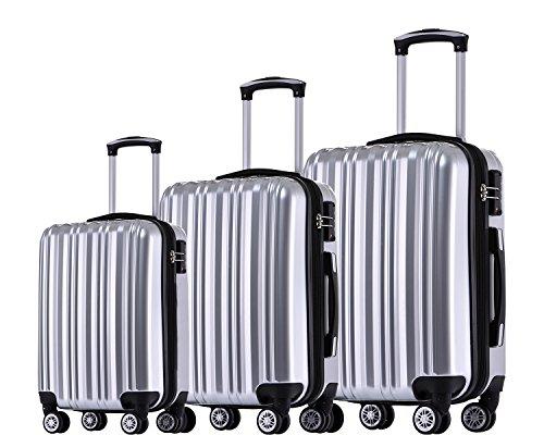 Münicase TSA-Schloß Koffer Reisekoffer Trolley Kofferset Silber, 3tlg. Kofferset