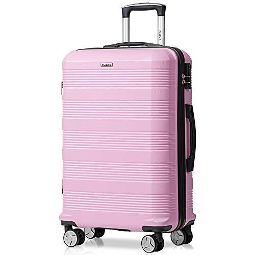 Flieks Reisekoffer Kofferset Hartschale 4 Zwillingsrollen Trolleys Gepäck Koffer Handgepäck, 67cm, 63 Liter Pink, L