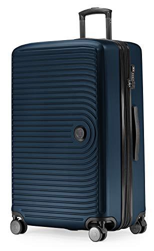 Großer Rollkoffer, Koffer Hartschale mit 8 cm Erweiterung, TSA, 4 gummierte Doppelrollen, 77 cm, 130 L, Dunkelblau – HAUPTSTADTKOFFER – Mitte