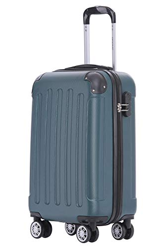 BEIBYE Hartschalen-Koffer Trolley Rollkoffer Reisekoffer Handgepäck 4 Rollen M-L-XL-Set Dunkel grün, M