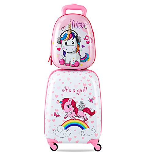 2 TLG. Kinder Kofferset Kindergepäck Set Reisekofferset Kindertrolley Handgepäck Kinderkoffer + Rucksack Einhorn rosa