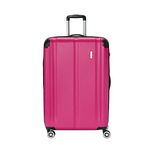 """Travelite Leicht, flexibel, sicher: """"City""""-Hartschalenkoffer für Urlaub und Business auch mit Vortasche Koffer, 77 cm, 113 Liter, Beere"""