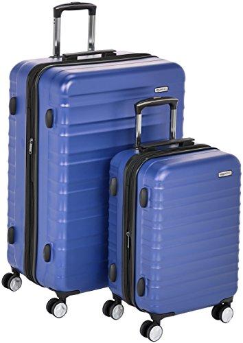 Hochwertiger Hartschalen-Trolley mit eingebautem TSA-Schloss und Laufrollen, 2-teiliges Set 55 cm, 78 cm, Blau – AmazonBasics