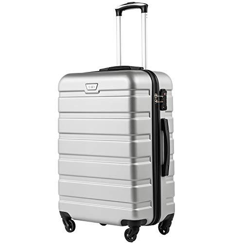 COOLIFE Hartschalen-Koffer Trolley Rollkoffer Reisekoffer mit TSA-Schloss und 4 RollenSilber, Großer Koffer