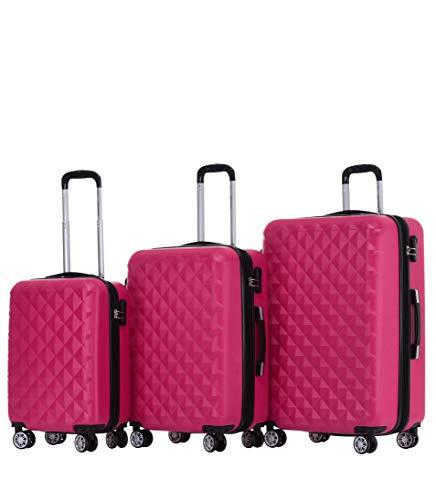 BEIBYE Zwillingsrollen 2066 Hartschale Trolley Koffer Reisekoffer Gepäck M-L-XL-Set Peach, Set