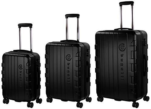 4 Rollen 3er Reisekoffer Set, Schwarz mit TSA Zahlenschloss – Bugatti Hartschalen Kofferset Galatea S, M & L