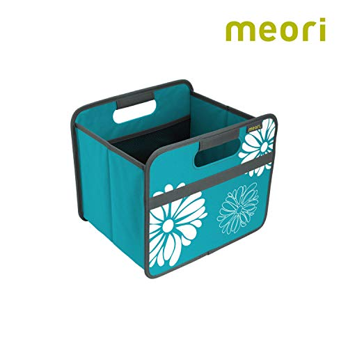 meori Faltbox Classic Small Azur Blau/Blumen 32×26,5×27,5cm abwischbar stabil Polyester Kinderzimmer Diele Bad Aufräumen Ordnungssystem Regalbox Ordnen