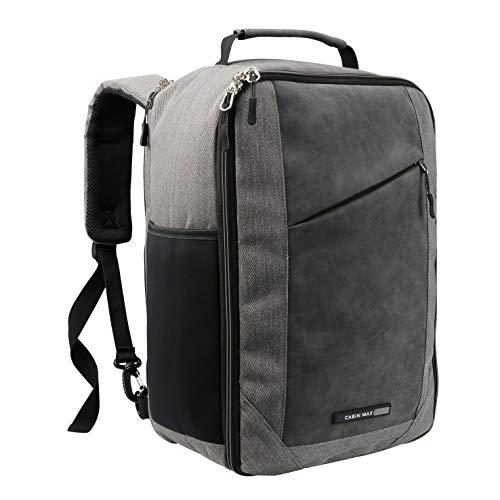 Ryanair Premium Handgepäck 20 Liter Schultertasche 40 x 20 x 25 cm abschließbarer Rucksack mit Organisationsfach und nützlichem Tablet Fach Grau – Cabin Max ® Manhatten Stowaway XL