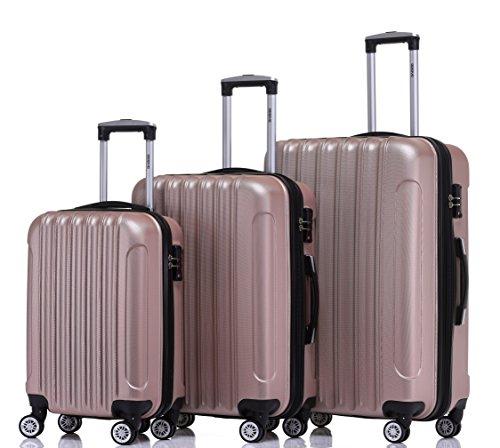 BEIBYE TSA Schloß 2050 Hartschale Trolley Koffer Reisekoffer in M-L-XL-Set Rosa Gold, Set