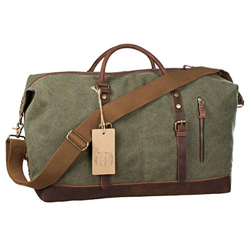 SHS Segeltuch Reisetasche,Vintage Canvas Handgepäck Tasche für Damen Herren,Urlaub Weekender Tasche Travel Bags Reise Duffel Bag mit der Großen Kapazität Armee grün