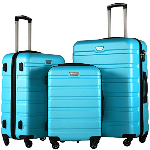 COOLIFE Hartschalen-Koffer Trolley Rollkoffer Reisekoffer mit TSA-Schloss und 4 Rollen Himmel blau, Koffer-Set