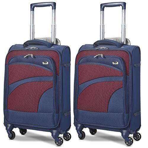 Aerolite Leichtgewicht 4 Rollen Handgepäck Trolley Koffer Bordgepäck Kabinentrolley Reisekoffer Gepäck, Genehmigt für Ryanair, easyJet, Lufthansa und Vieles Mehr, 2 Teilig, Marineblau/Pflaume