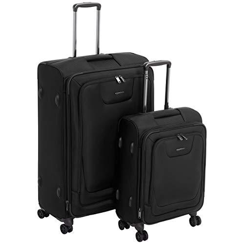 Premium-Weichschalen-Trolley mit TSA-Schloss, erweiterbar, 2-teiliges Set à 53 cm, 74 cm, Schwarz – AmazonBasics