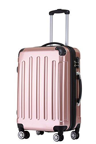 BEIBYE Zwillingsrollen 2048 Hartschale Trolley Koffer Reisekoffer in M-L-XL-Set in 15 Farben Rosa Gold, L