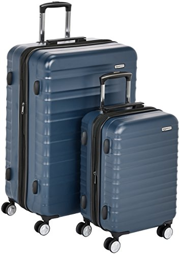 AmazonBasics – Hochwertiger Hartschalen-Trolley mit eingebautem TSA-Schloss und Laufrollen, 2-teiliges Set 55 cm, 78 cm, Marineblau