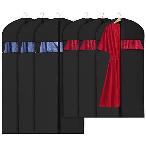 Univivi Hanging Garment Bags Anzugstasche für Aufbewahrung und Transport 101 / 127CM, 6er-Set Mottenschutz, Waschbare Anzughülle für T-Shirt, Jacke, Anzüge, Kleider, Mäntel, Verbesserte Version