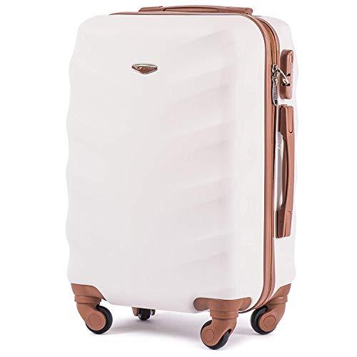 Leichter Flugzeugkoffer – VINCI LUGGAGE Geräumiger Kabinentrolley – Luxuriöser und moderner Koffer mit zweistufigen Teleskopgriff und Kombinationsschloss Schmutziges Weiß, S