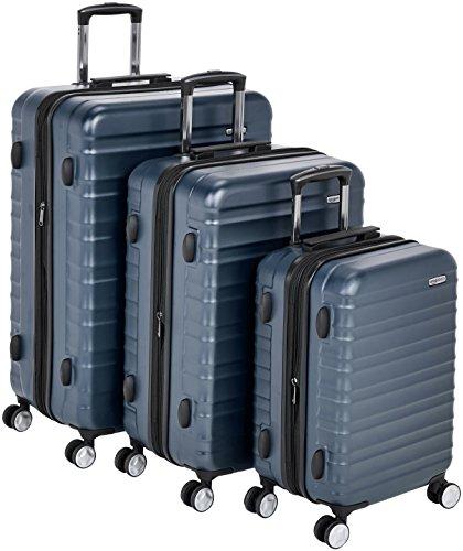 Hochwertiger Hartschalen-Trolley mit eingebautem TSA-Schloss und Laufrollen, 3-teiliges Set 55 cm, 68 cm, 78 cm, Marineblau – AmazonBasics